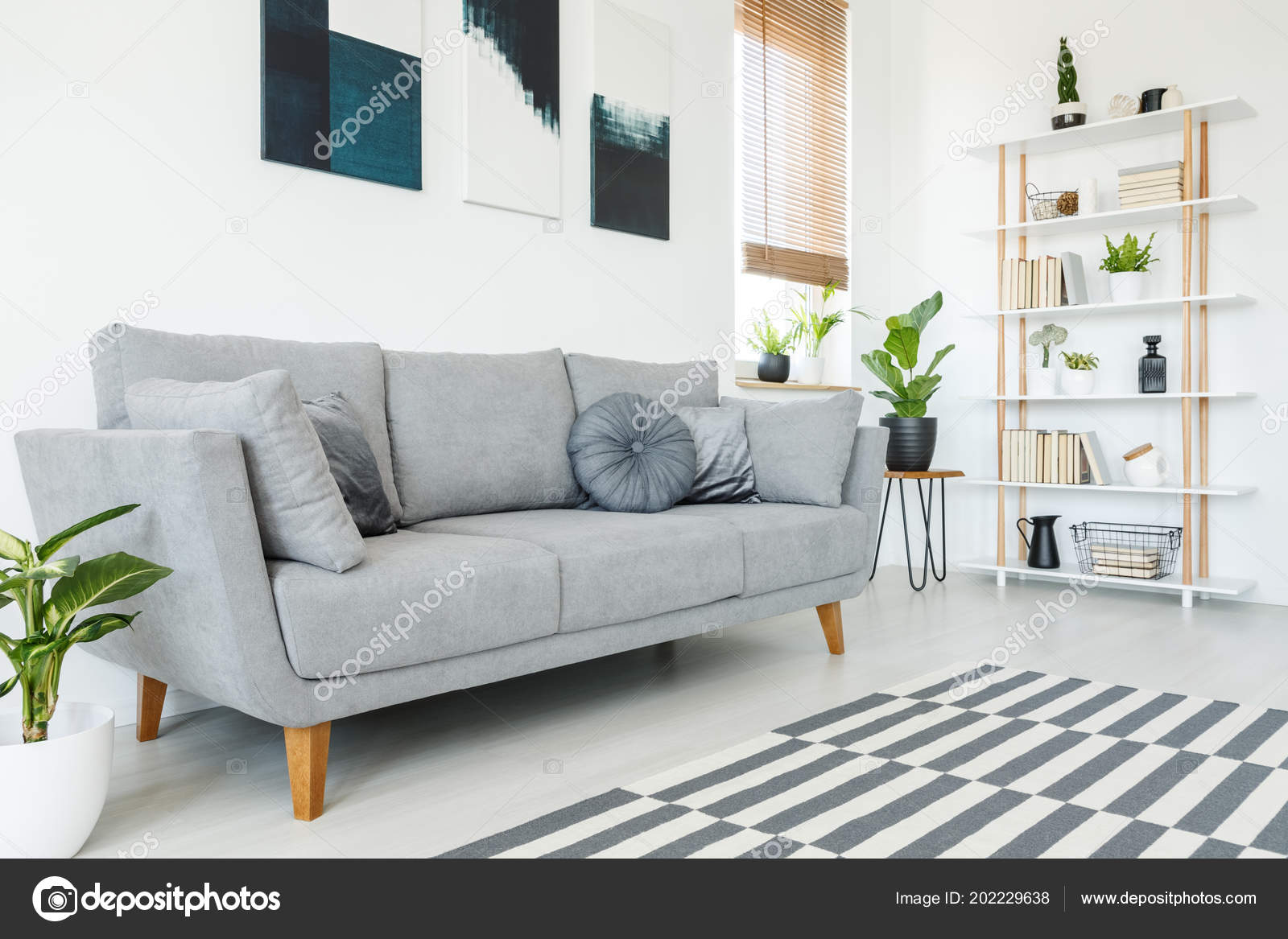 Cushions Grey Couch Carpet Minimal Living Room Interior Plant Posters U2014  Stock Photo