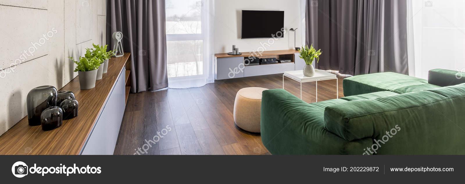 Living Room Interior Green Corner Sofa Cabinet Plants Glass ...