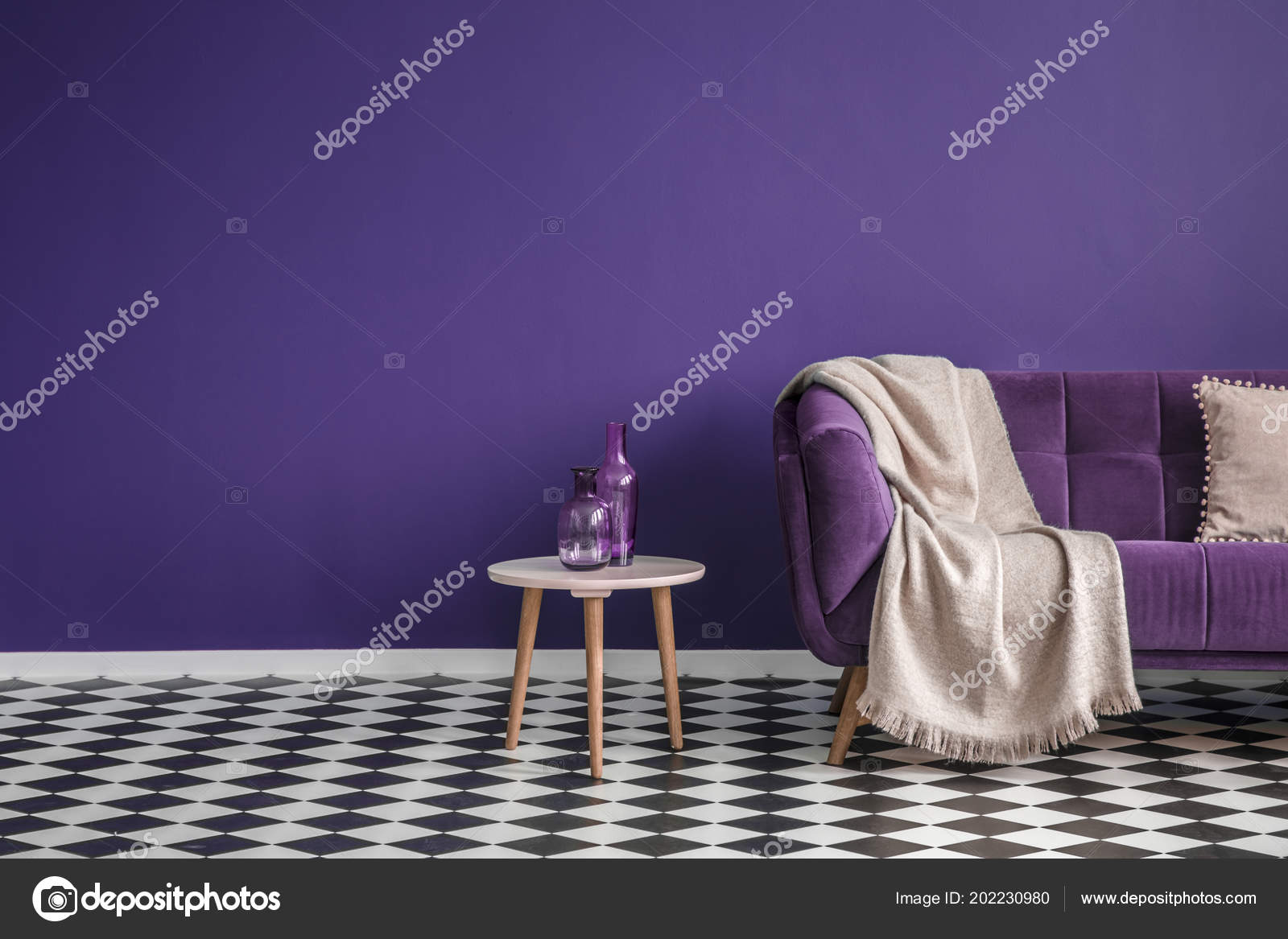 Dark Purple Sofa Blanket Small Table Bottles Standing Black White ...
