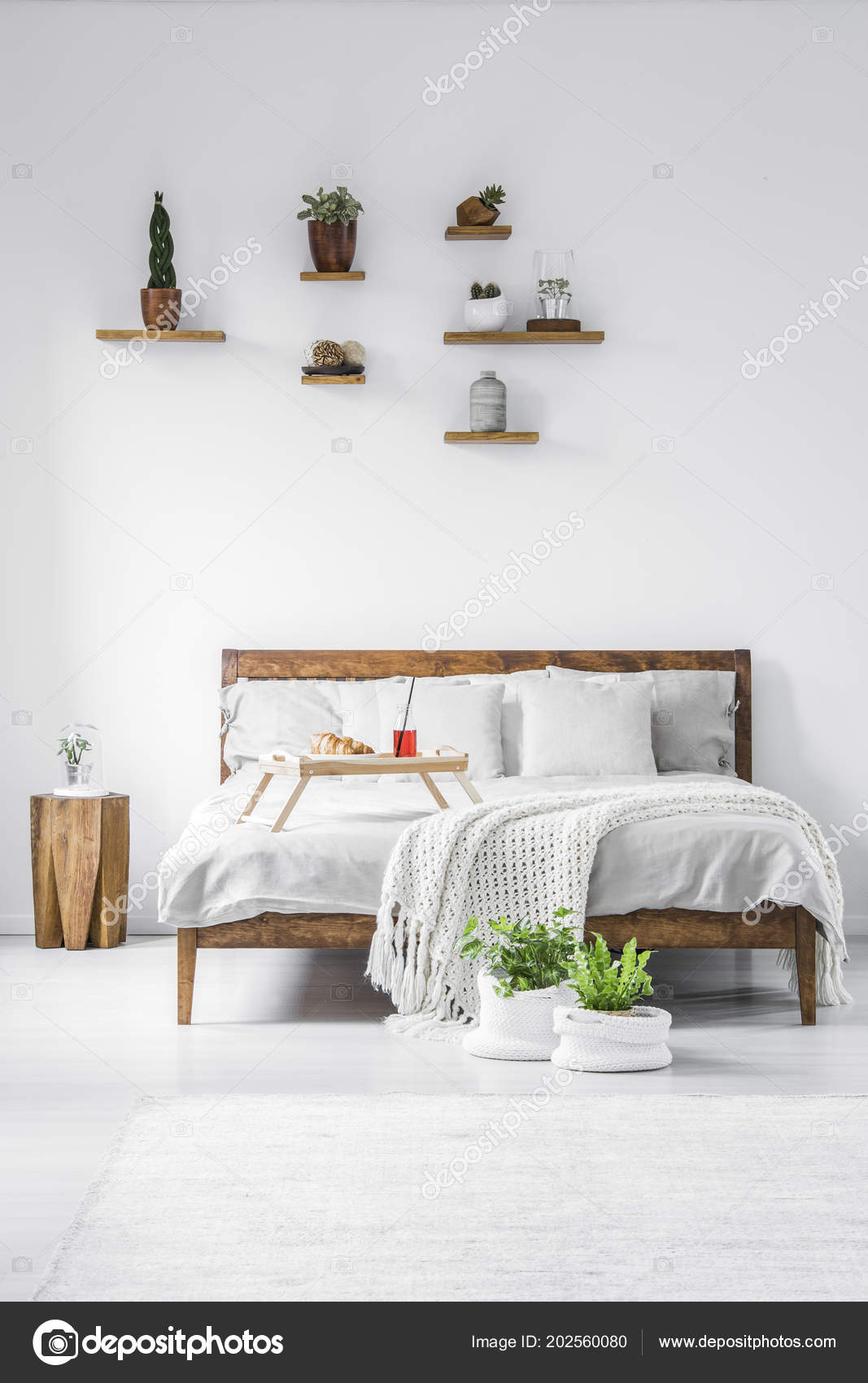 Shelf Above Bed Instead Of Nightstand Plants Decorations Placed Shelves Wooden Double Bed White Bedding Breakfast Stock Photo C Photographee Eu 202560080