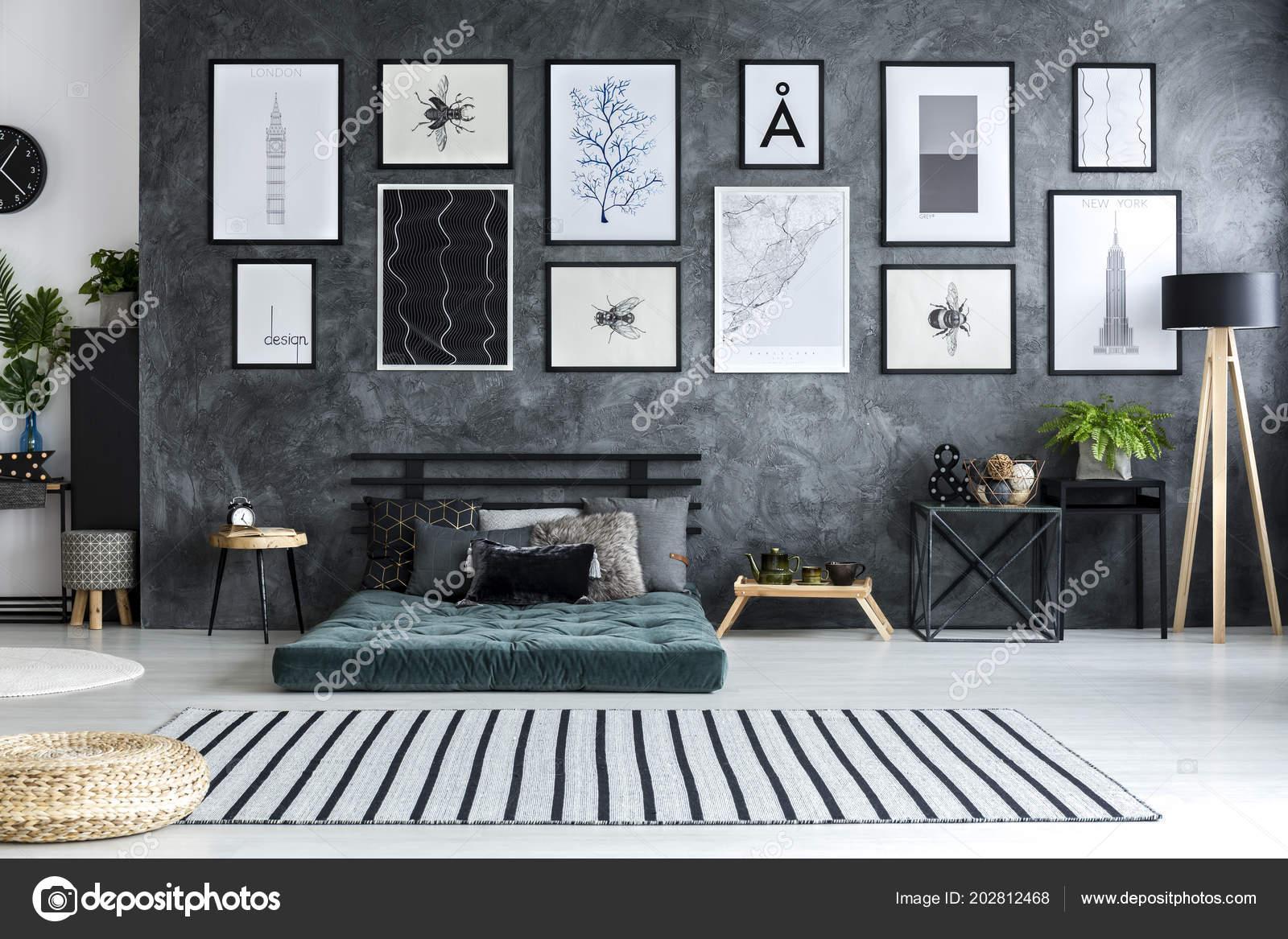 Gestreiften Teppich Innen Geräumiges Apartment Mit Grünen Futon Mit ...