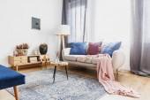 Dřevěná stolička s skleněnou vázu nebo svícen na Vzorovaný koberec vedle pohovka s růžovou deku v interiéru útulný obývací pokoj s rustikální skříň