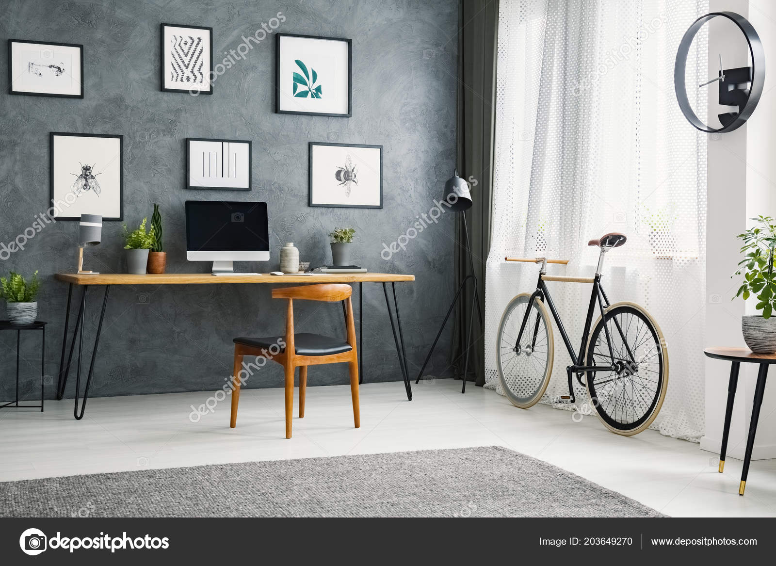 newest 1d52f 7e5dc Bicycle Next Wooden Chair Desk Grey Home Office Interior ...
