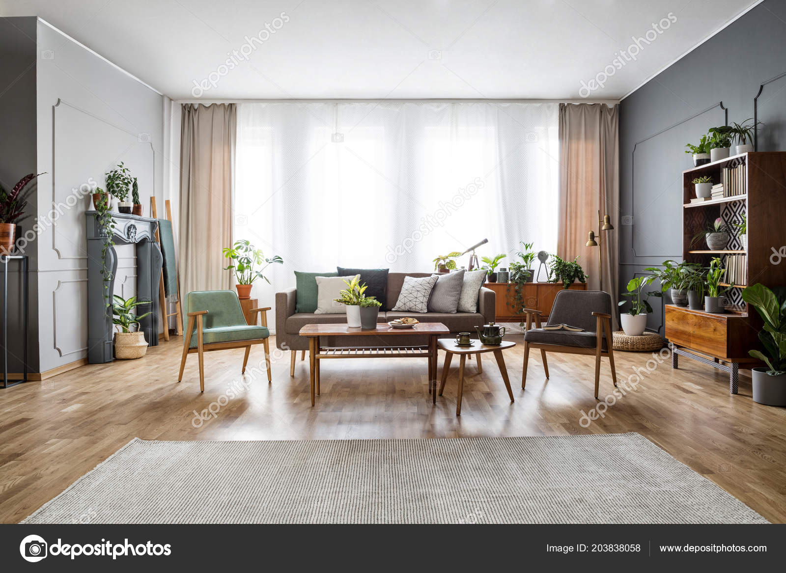 Real Photo Spacious Vintage Living Room Interior Sofa Two ...