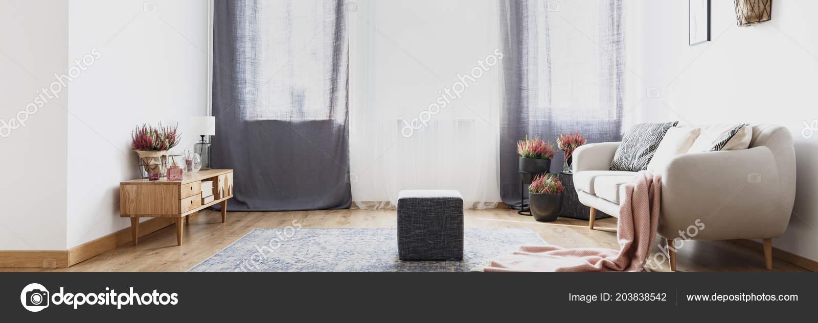 Grey Drapes Bright Living Room Interior Pouf Carpet Beige Sofa Stock Photo C Photographee Eu 203838542