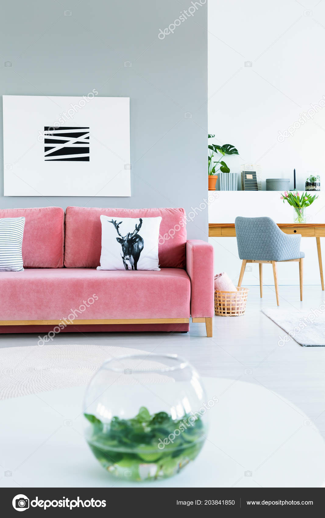 Deer Pillow On A Pink Sofa In Feminine Home Interior With A Gray Chair At A  Wooden Desk In The Background. Real Photo U2014 Photo By Photographee.eu