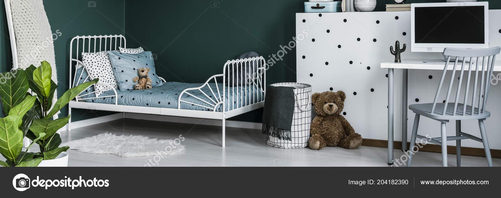 Green Kids Bedroom Interior Metal Bed Computer Desk Teddy Bear Stock Photo C Photographee Eu 204182390
