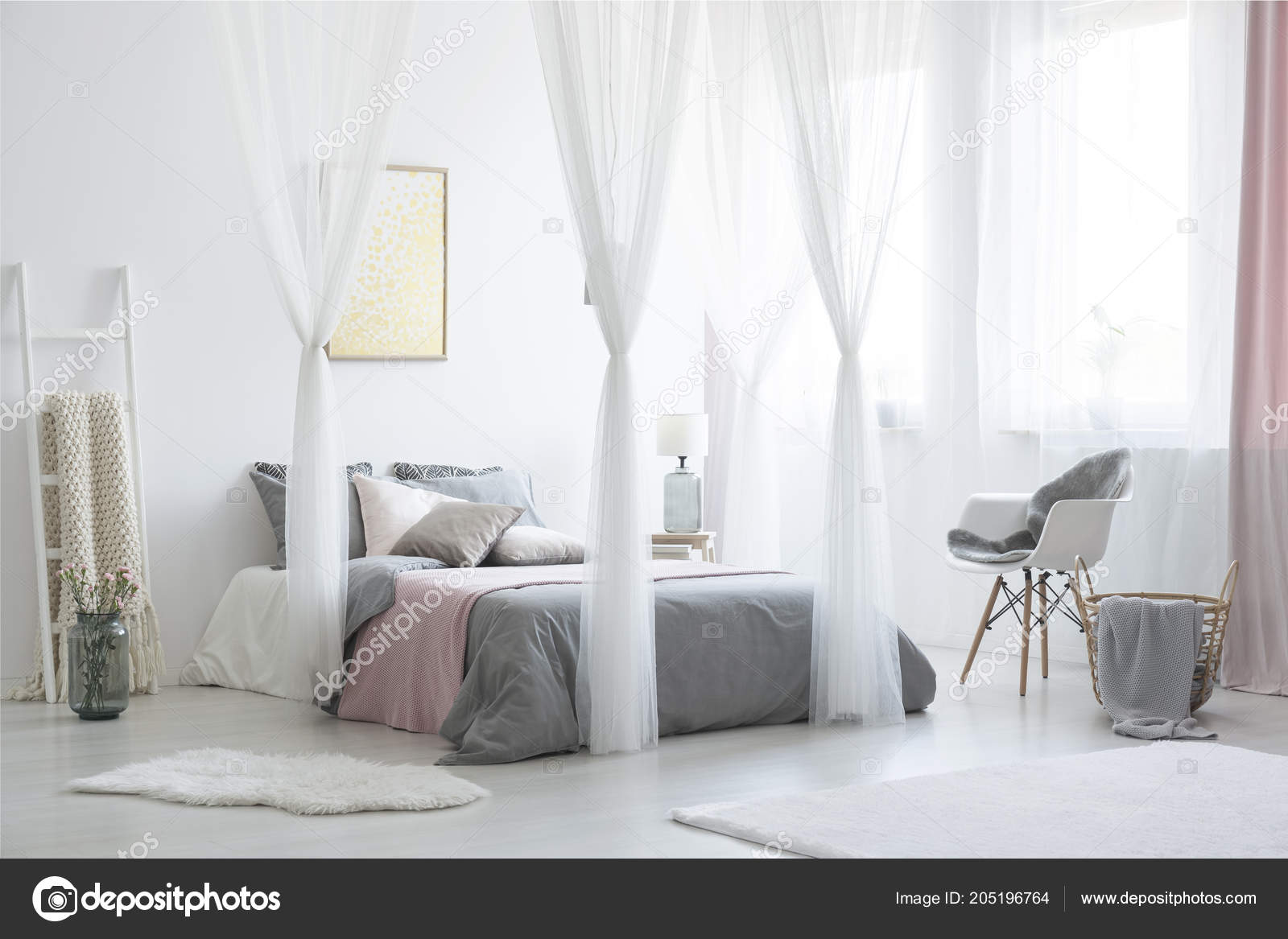 Grey Armchair Next Canopied Bed White Bedroom Interior Posters ...