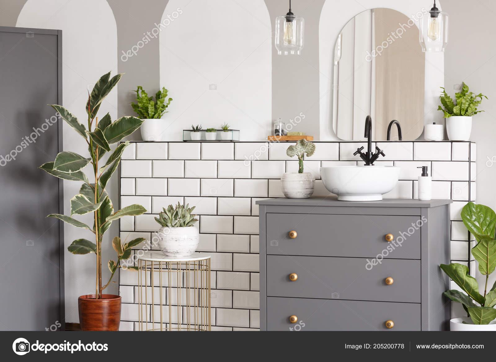 Miroir Dessus Gris Meuble Avec Lavabo Interieur Salle Bains