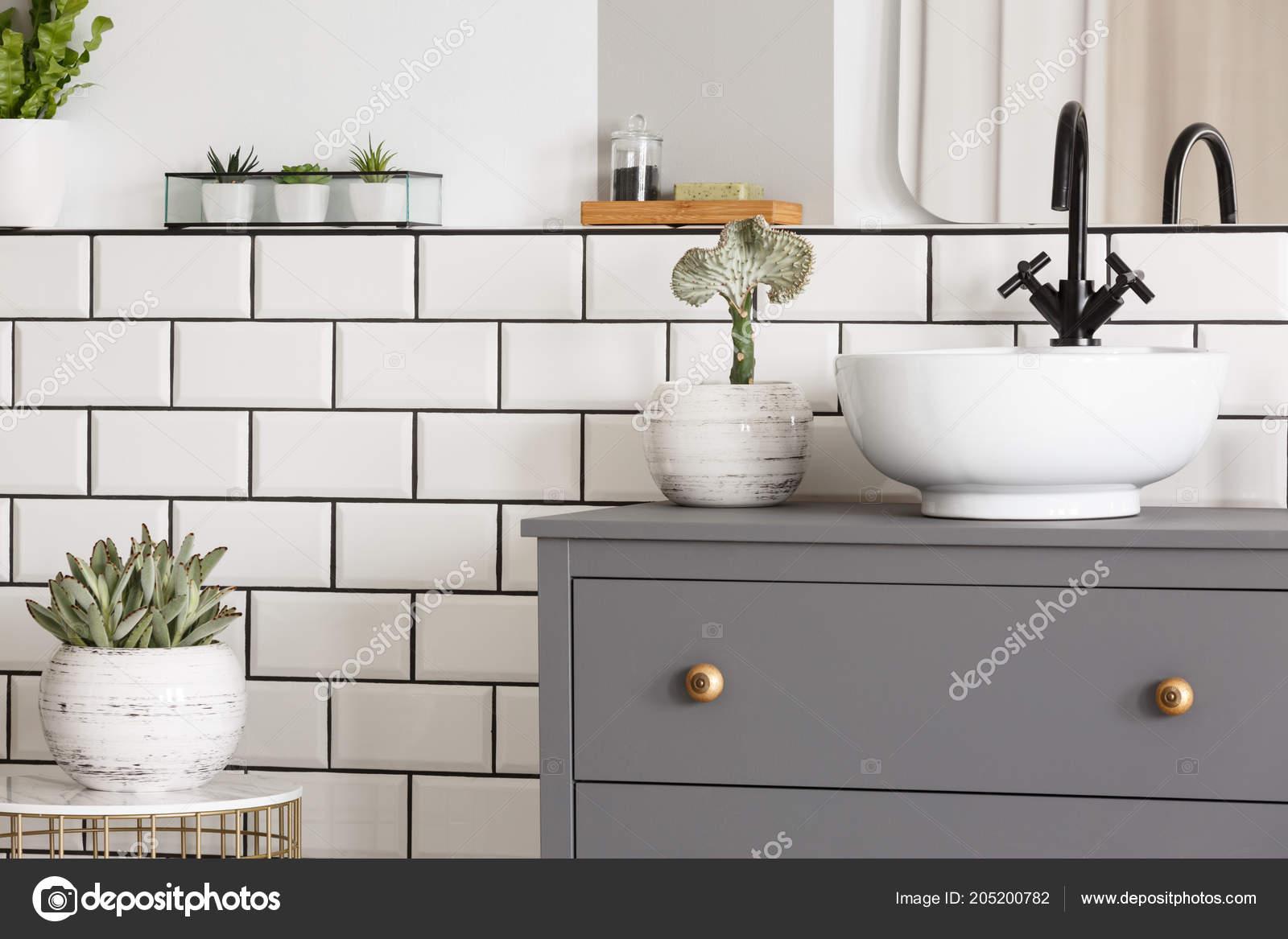 Mesa Para Lavabos Modernos.Planta Mesa Lado Gris Con Interior Simple Bano Moderno