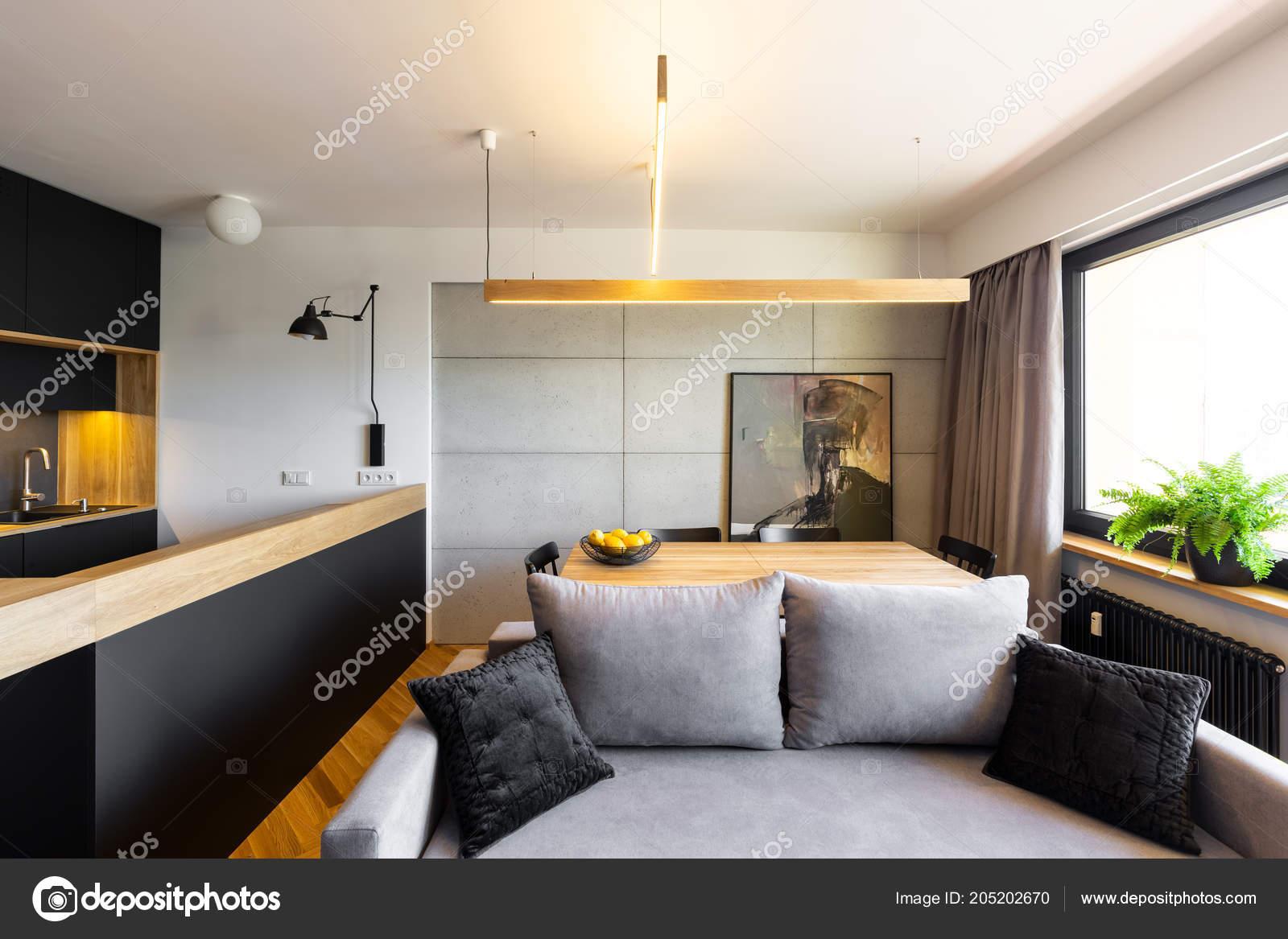 Pleasant Pillows Grey Sofa Modern Apartment Interior Black Kitchen Beatyapartments Chair Design Images Beatyapartmentscom