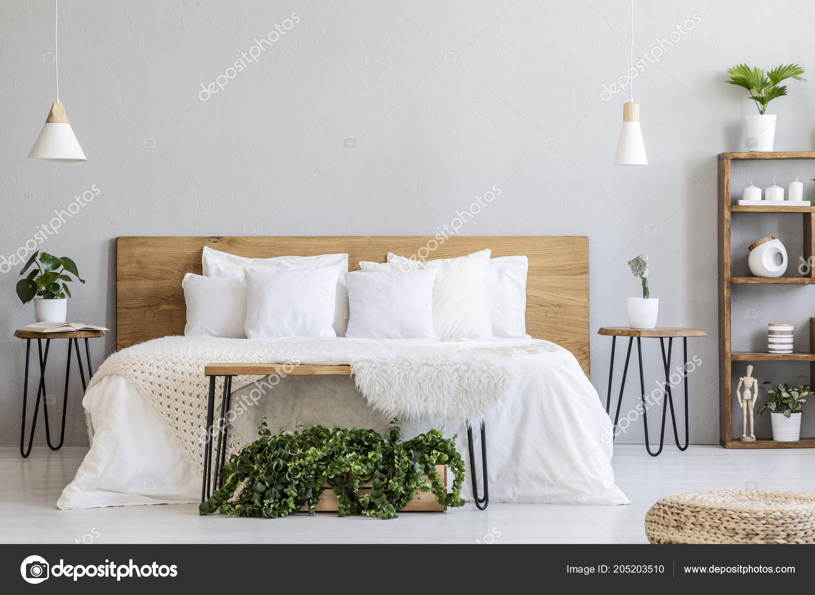 Lamps Wooden Bed White Sheets Grey Bedroom Interior Pouf Plants Stock Photo Image By C Photographee Eu 205203510