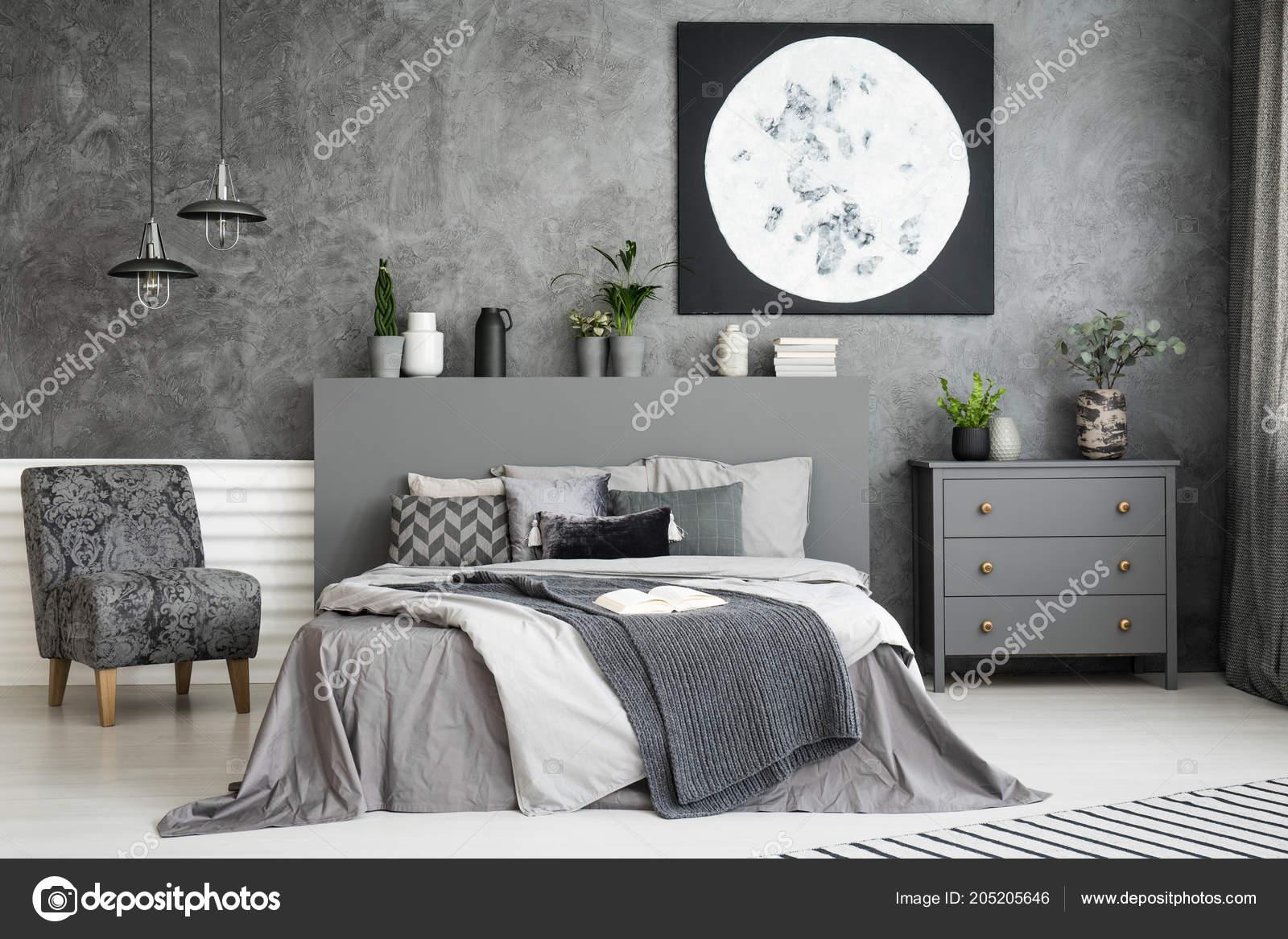 Dziełami Sztuki ścianie Wnętrza Stylowe Sypialnia Szary Duże