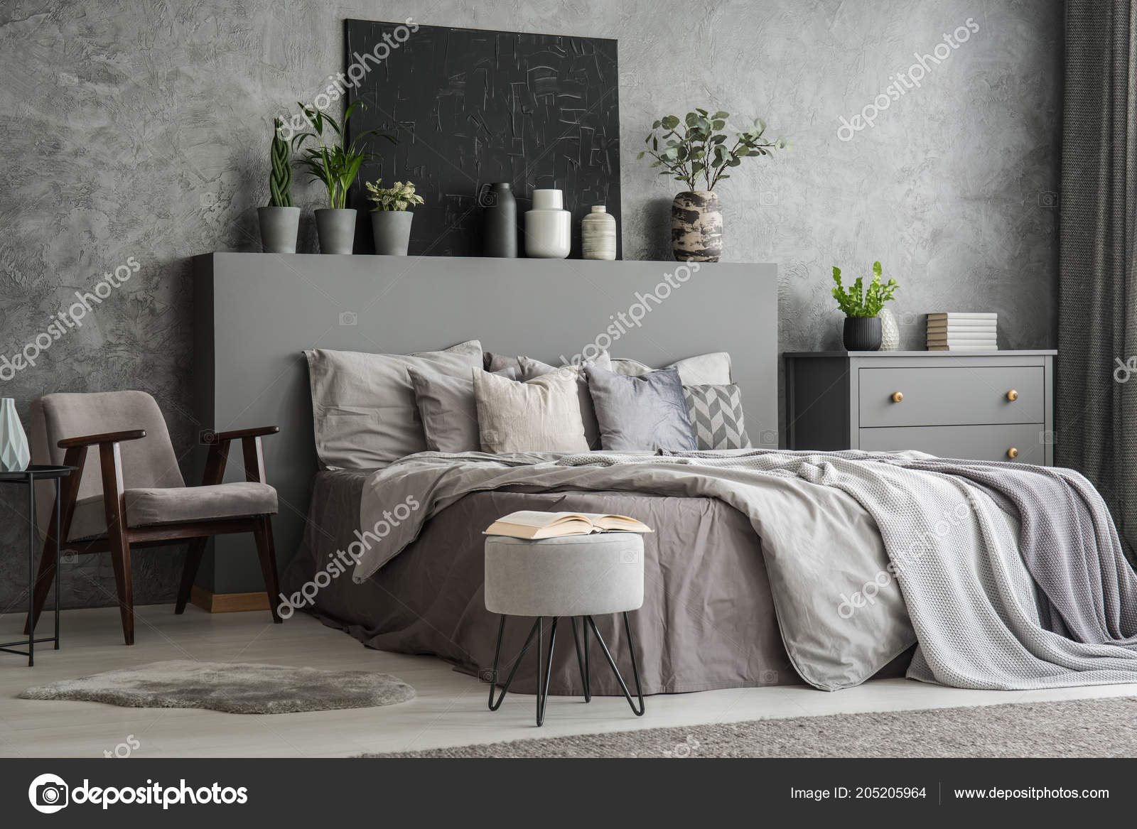 Outstanding Stylish Bedroom Interior Bed Blankets Pillows Armchair Pabps2019 Chair Design Images Pabps2019Com