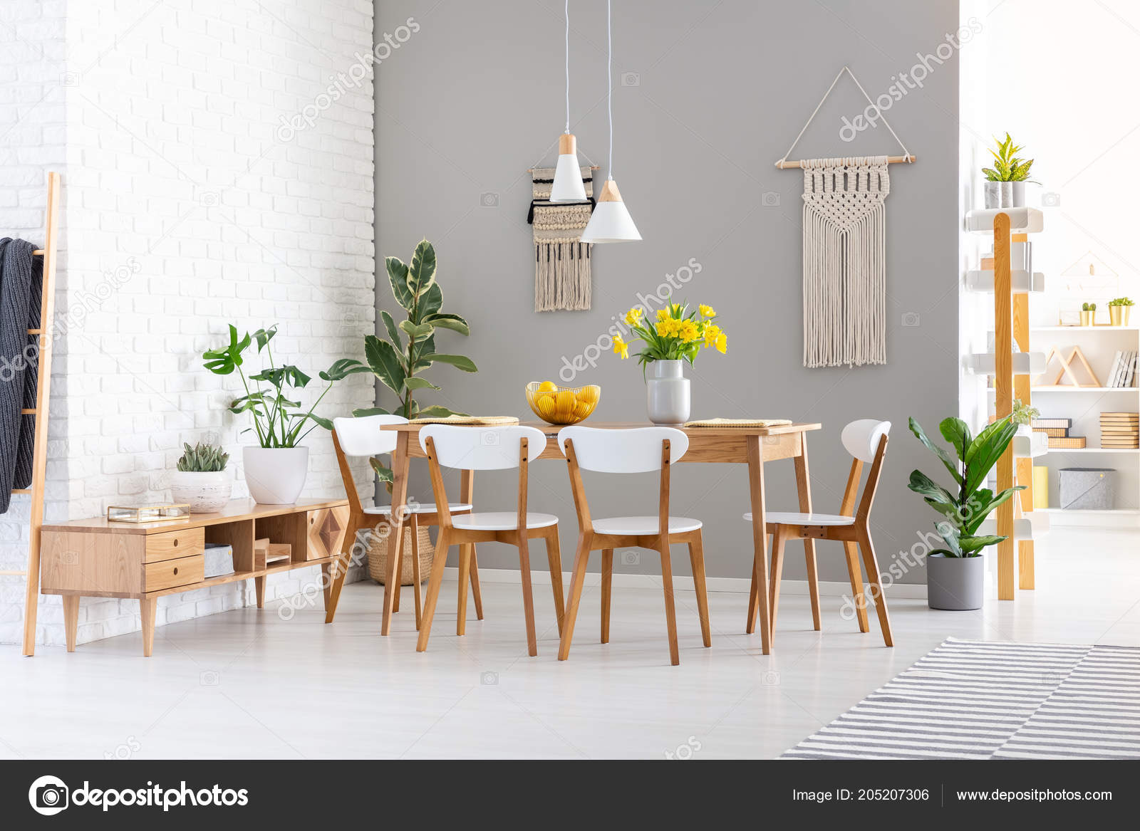 White Chairs Wooden Table Yellow Flowers Dining Room Interior Plants Stock Photo Image By C Photographee Eu 205207306
