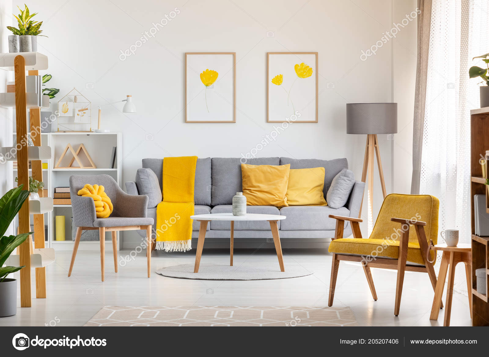 Grey and yellow living room furniture | Armchairs Table Grey ...