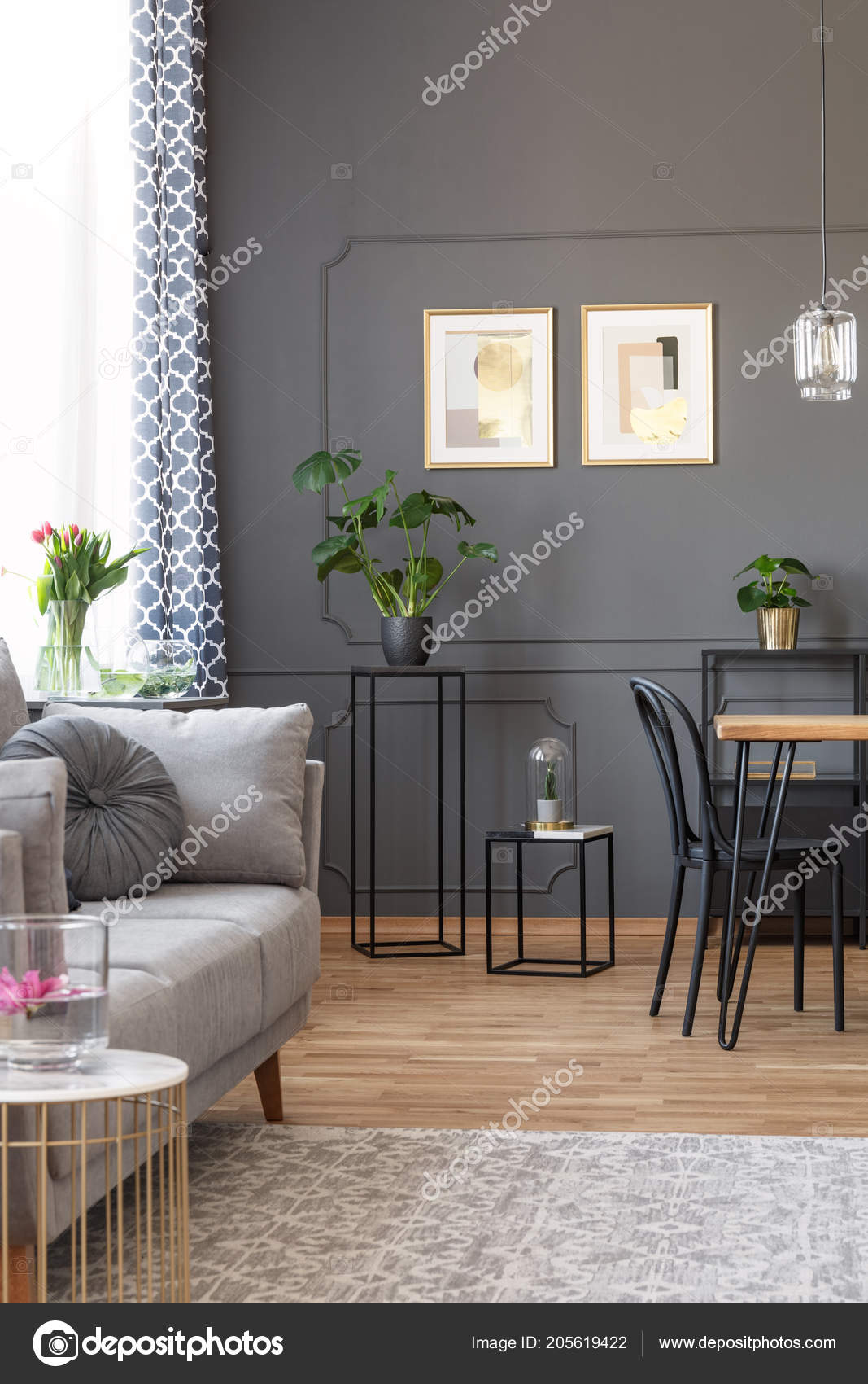 Grey Sofa Carpet Living Room Interior Posters Wall Plants ...