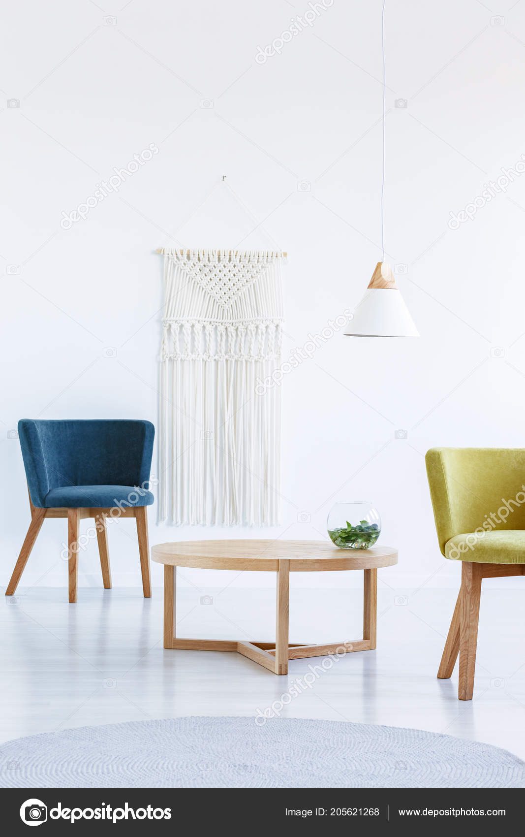 Table Blue Yellow Armchair White Living Room Interior Lamp Real ...
