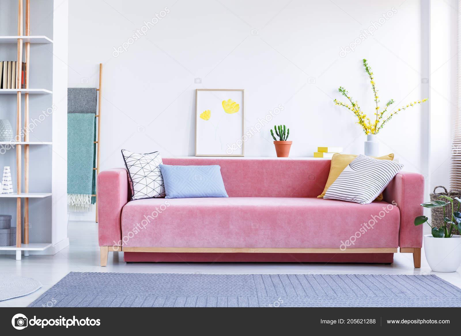 Bunte Kissen Auf Einem Grossen Samt Rosa Sofa Ein Lustiges