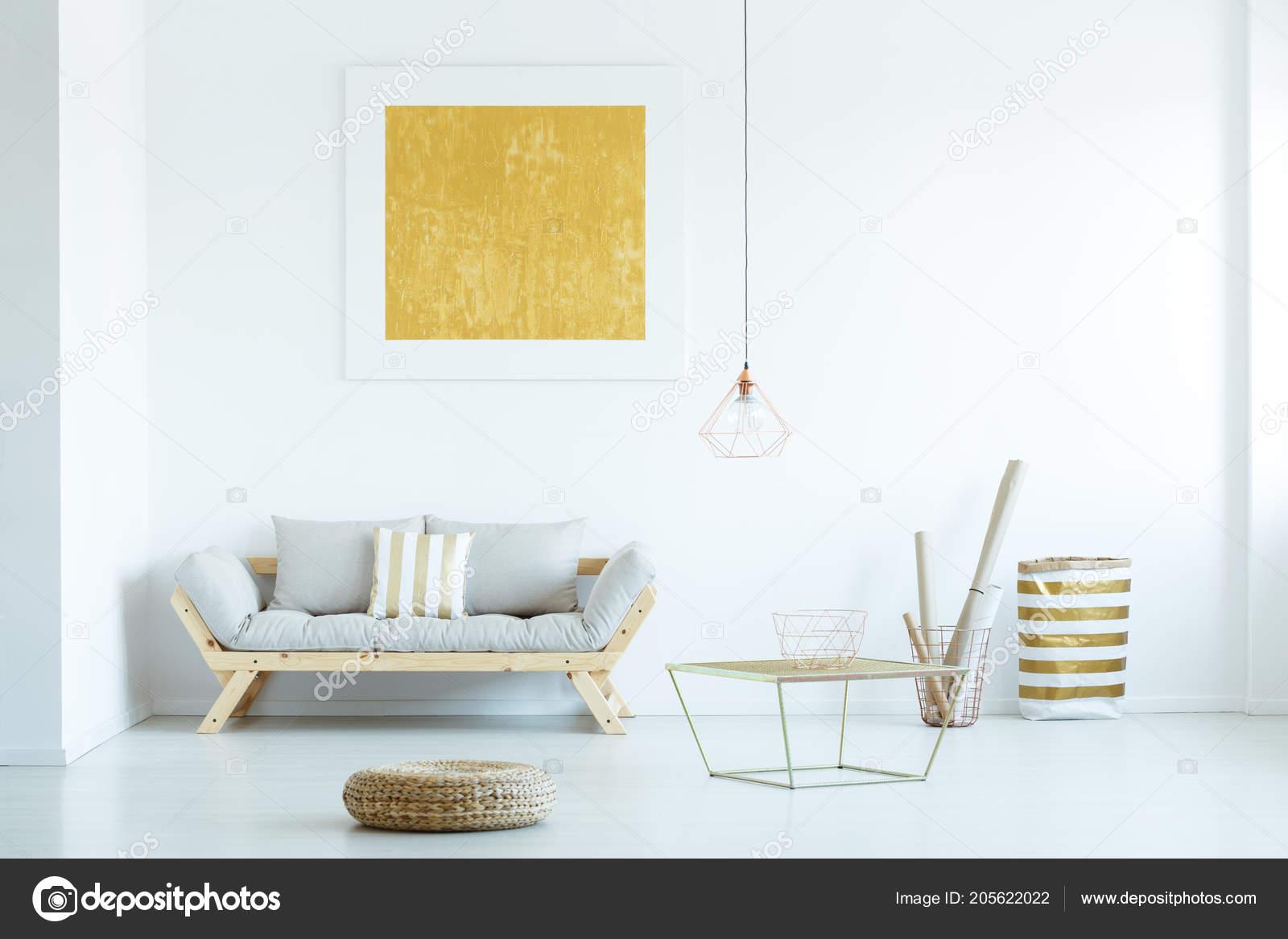 Pouf Table Grey Sofa Yellow Painting Modern Living Room