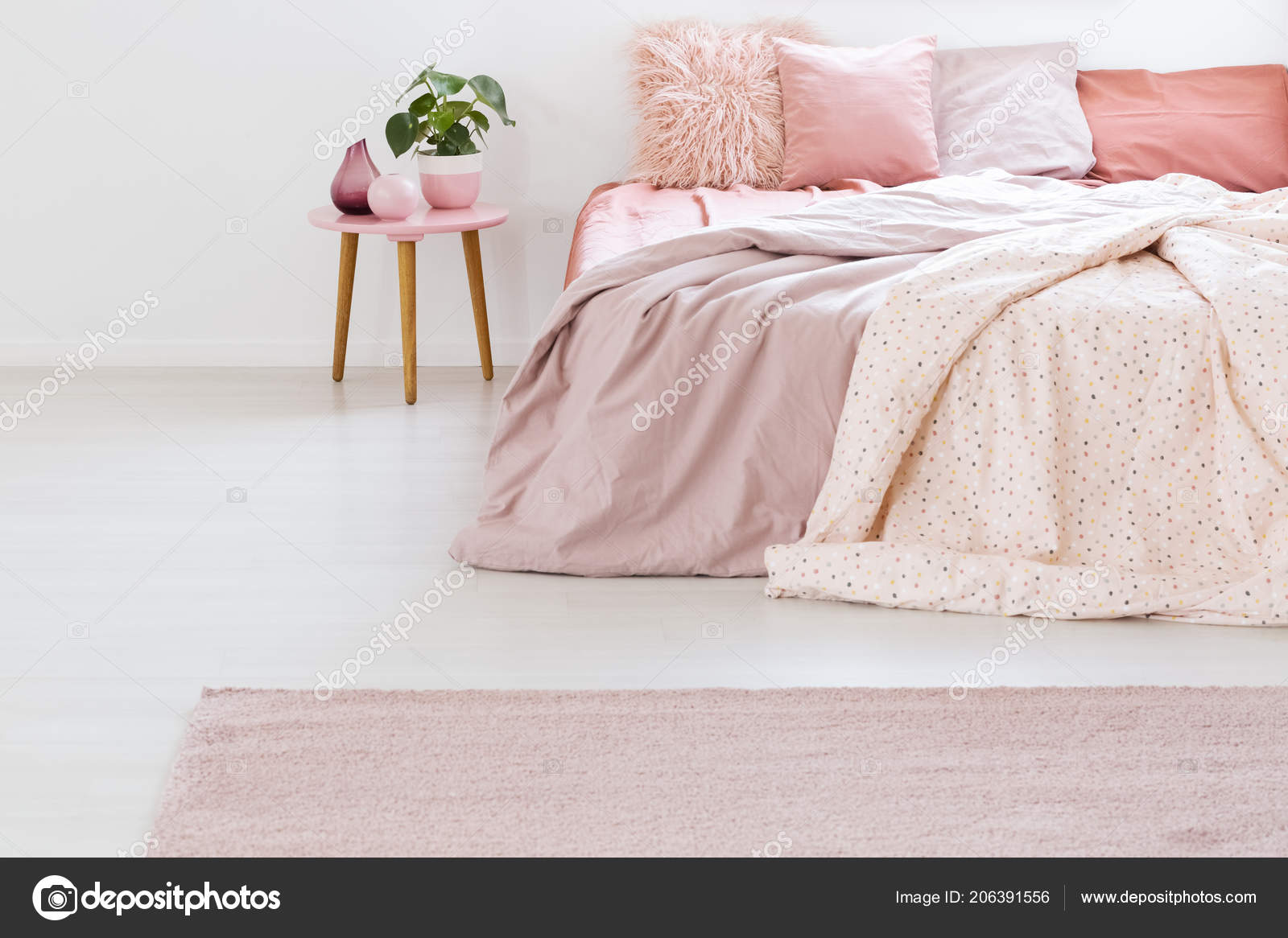 Plant Table Next Bed Pink Sheets Cushions Pastel Bedroom ...