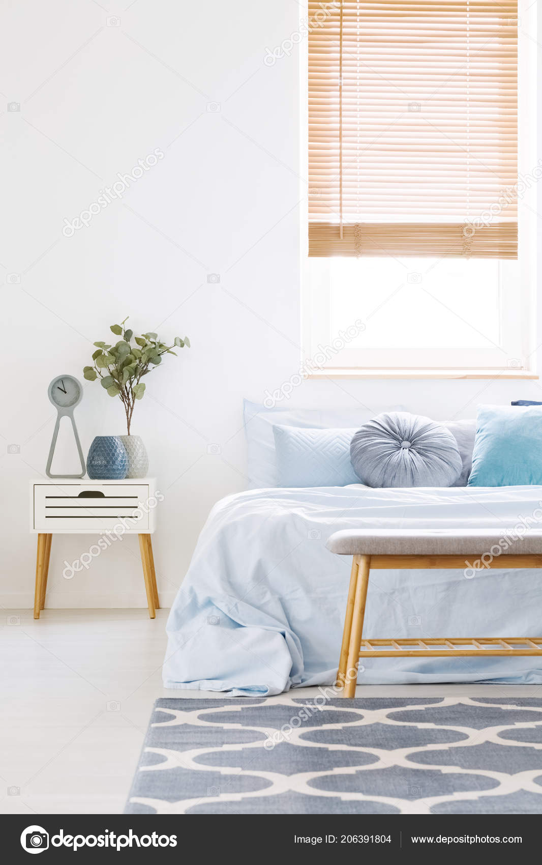 Genial Window Wooden Blinds White Bedroom Interior Bed Light Blue Bedclothes U2014  Stock Photo