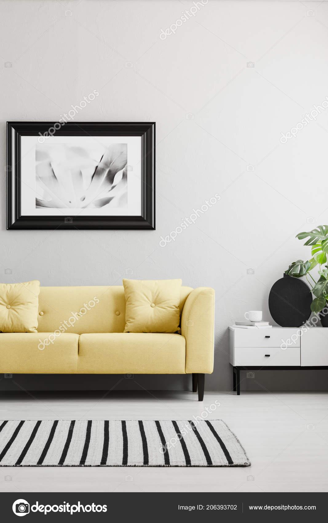 Poster Yellow Sofa Minimal Grey Living Room Interior Rug