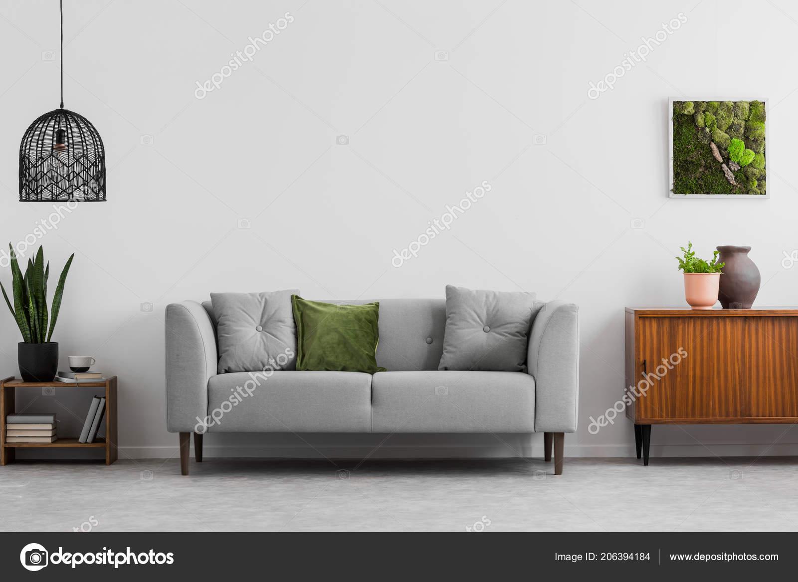 Grauen Sofa Mit Kissen Neben Holz Schrank Wohnzimmer ...