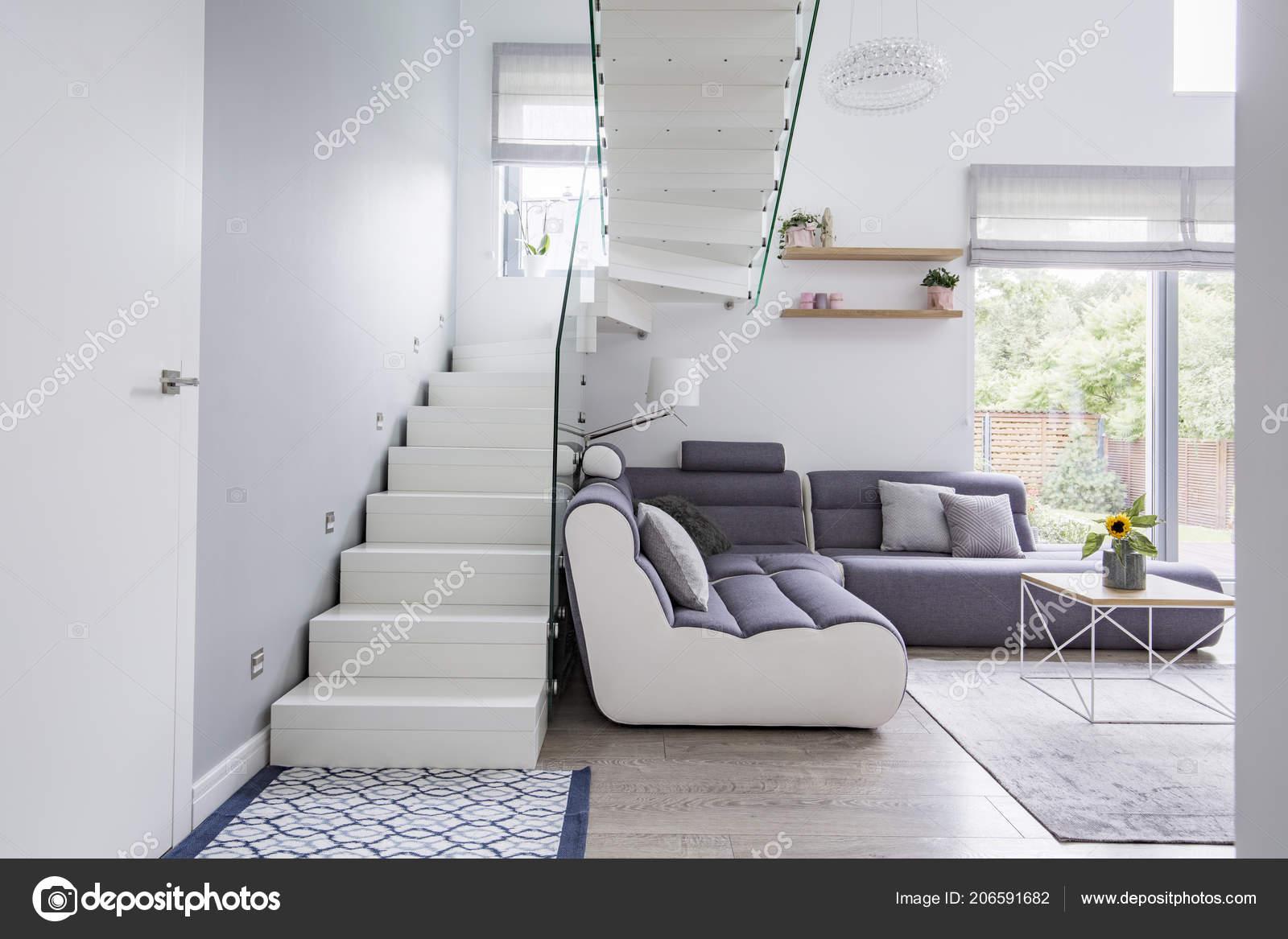 Canape Grand Moderne Dans Decor Salon Blanc Avec Naturel
