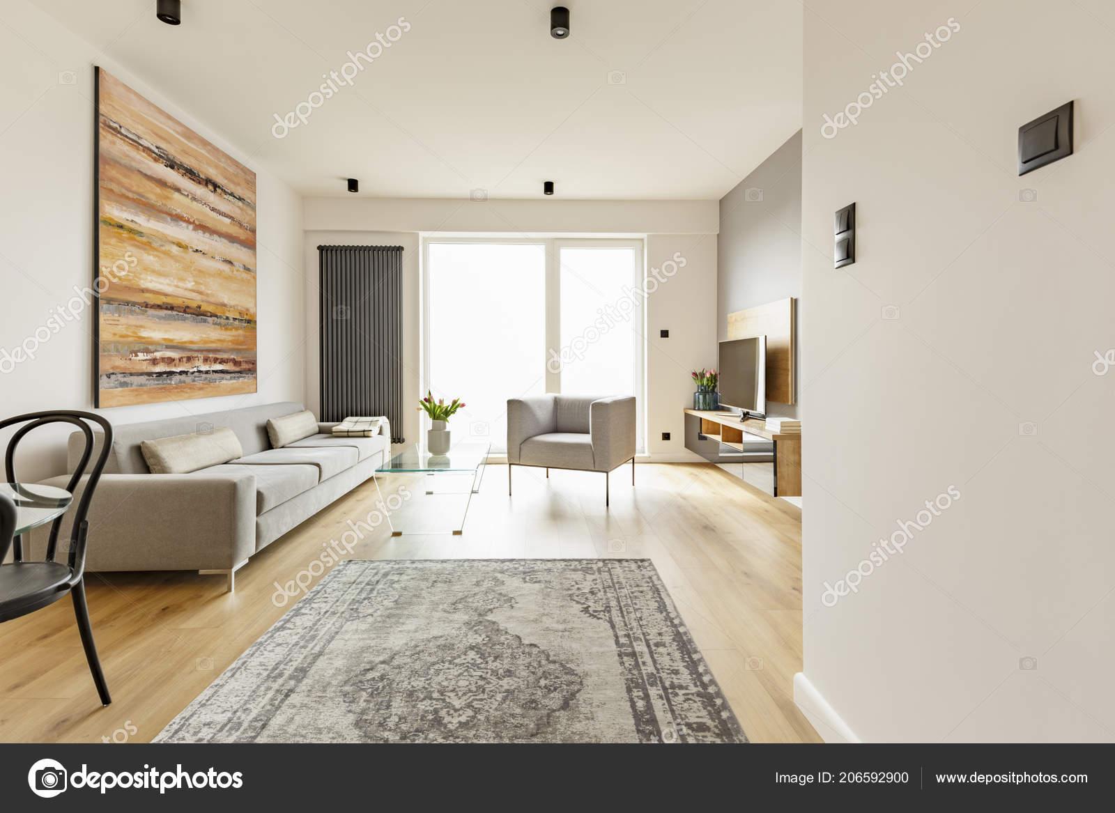 Front View Modern Living Room Interior Vintage Rug Grey ...