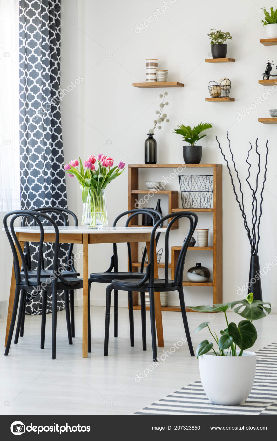 Industrial Dining Room Interior Table Black Chairs Pink Tulips