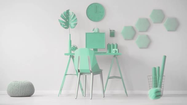 Video of a mint green office interior with hexagon wall decoration next to a desk with computer and monstera leaf. Cinemagraph of oversize dice being thrown in the room.