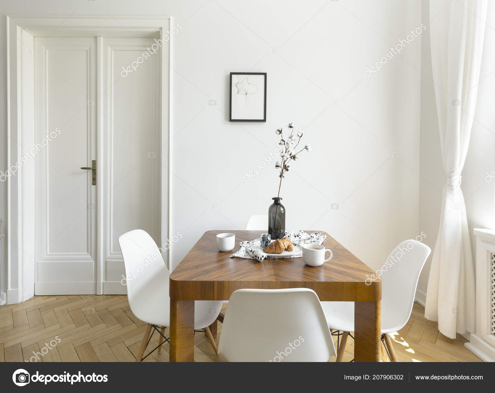 White Chairs Wooden Table Minimal Dining Room Interior Door Poster Stock Photo