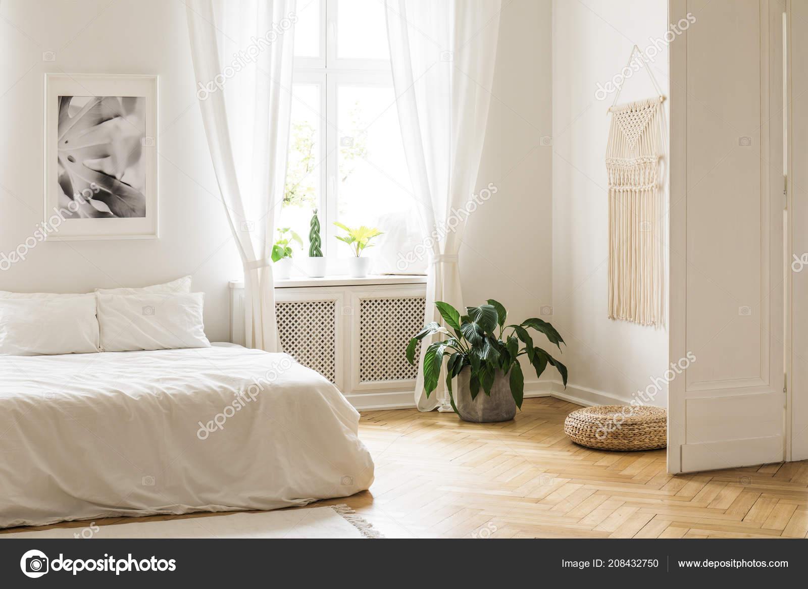 Beige Macrame Poster White Walls Bright Minimalist Bedroom ...