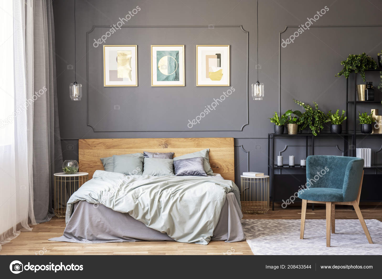 Double Bed Grey Bedding Wooden Headboard Standing Dark Bedroom