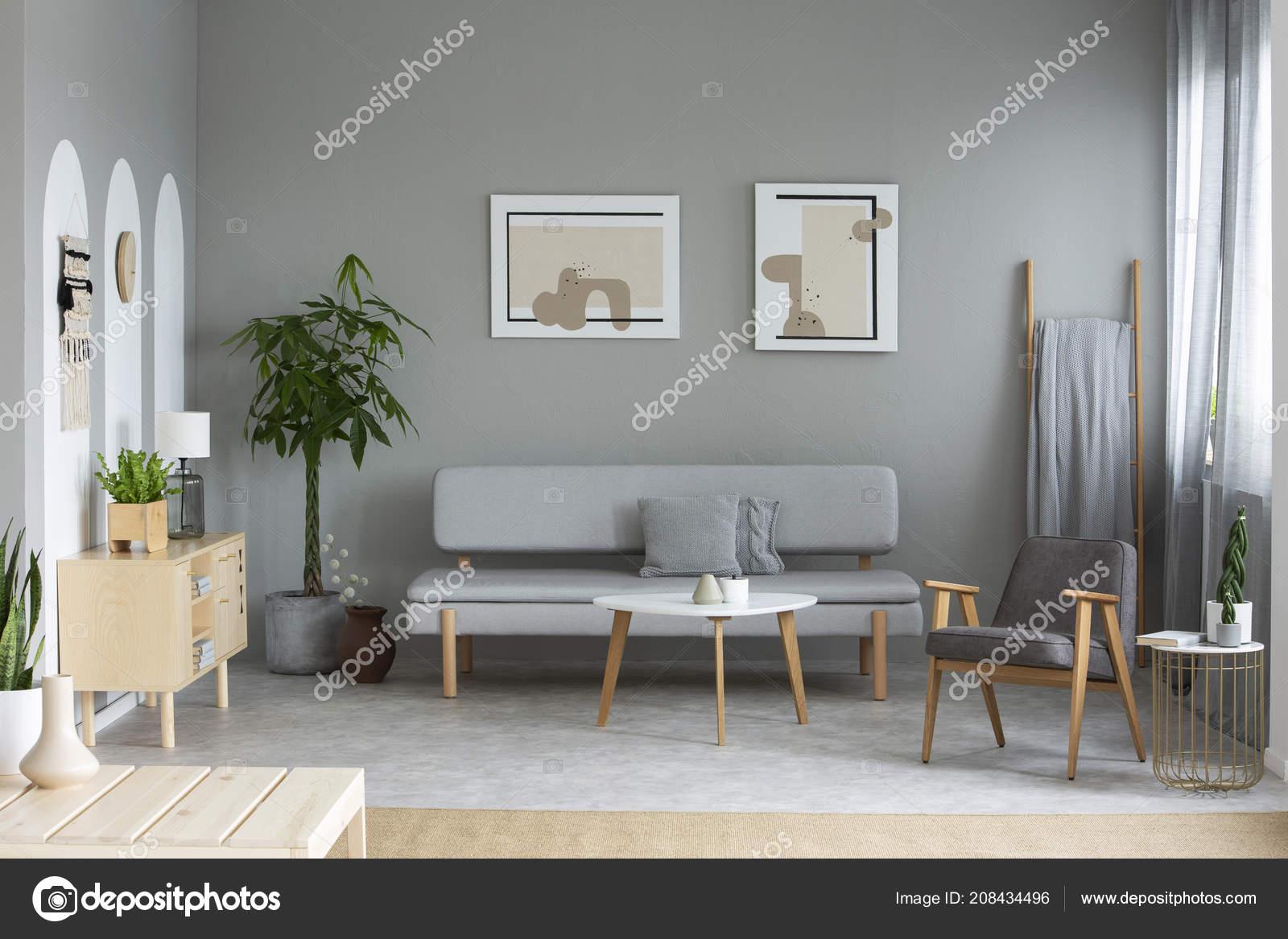 Zwei Plakate Aufhängen Der Wand Echtes Foto Von Grauen Wohnzimmer