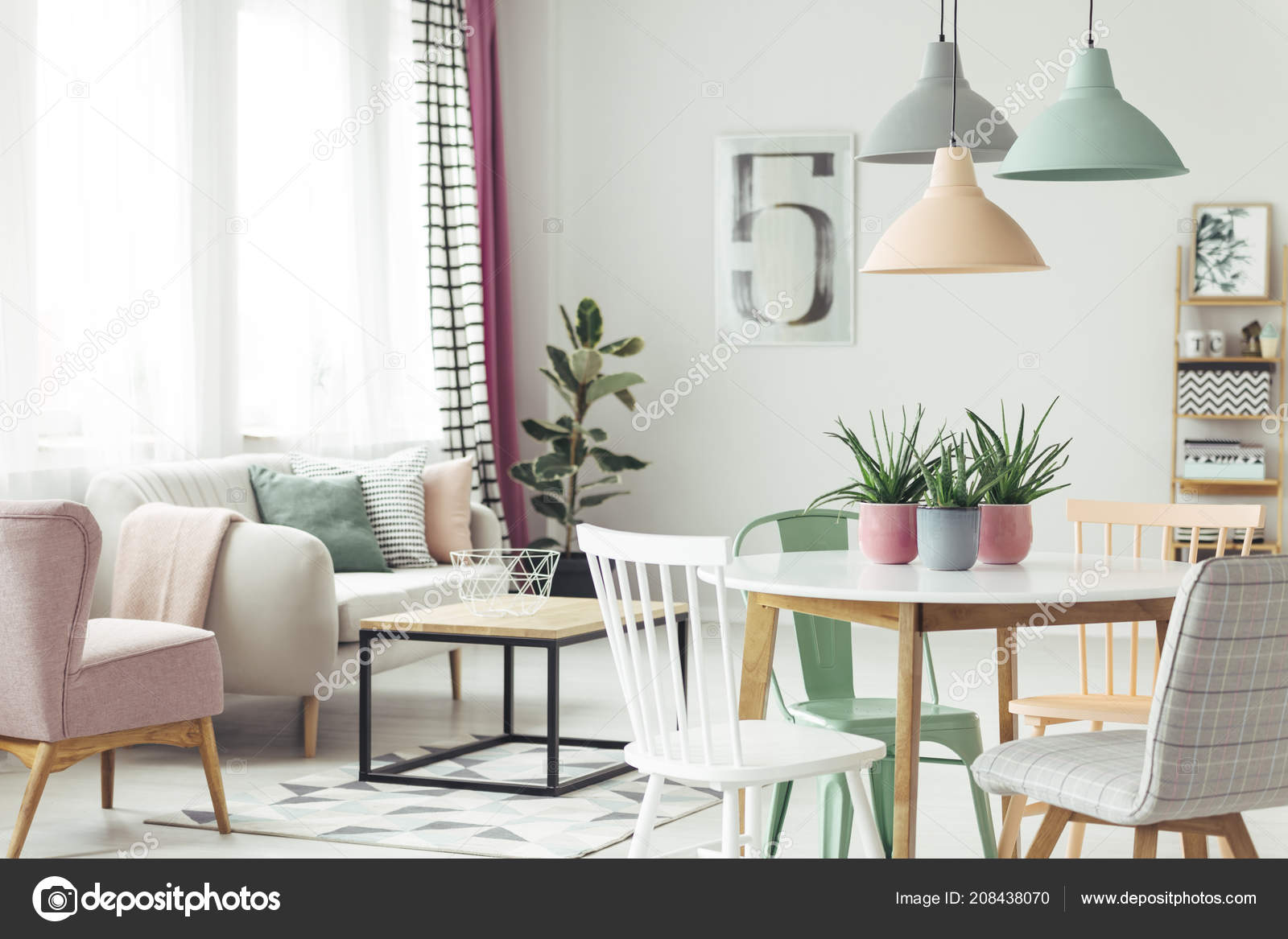 Echtes Foto Von Einem Pastell Wohnzimmer Interieur Mit Einem