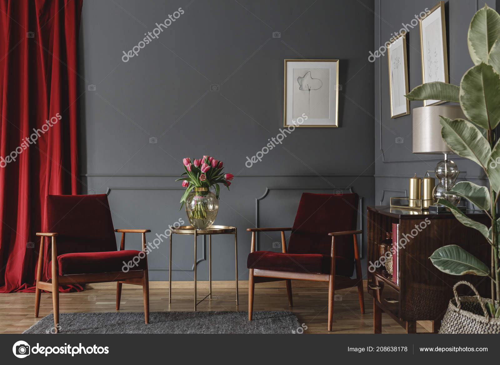 Burgundy And Grey Living Room.Two Burgundy Armchairs Placed Grey Living Room Interior Red