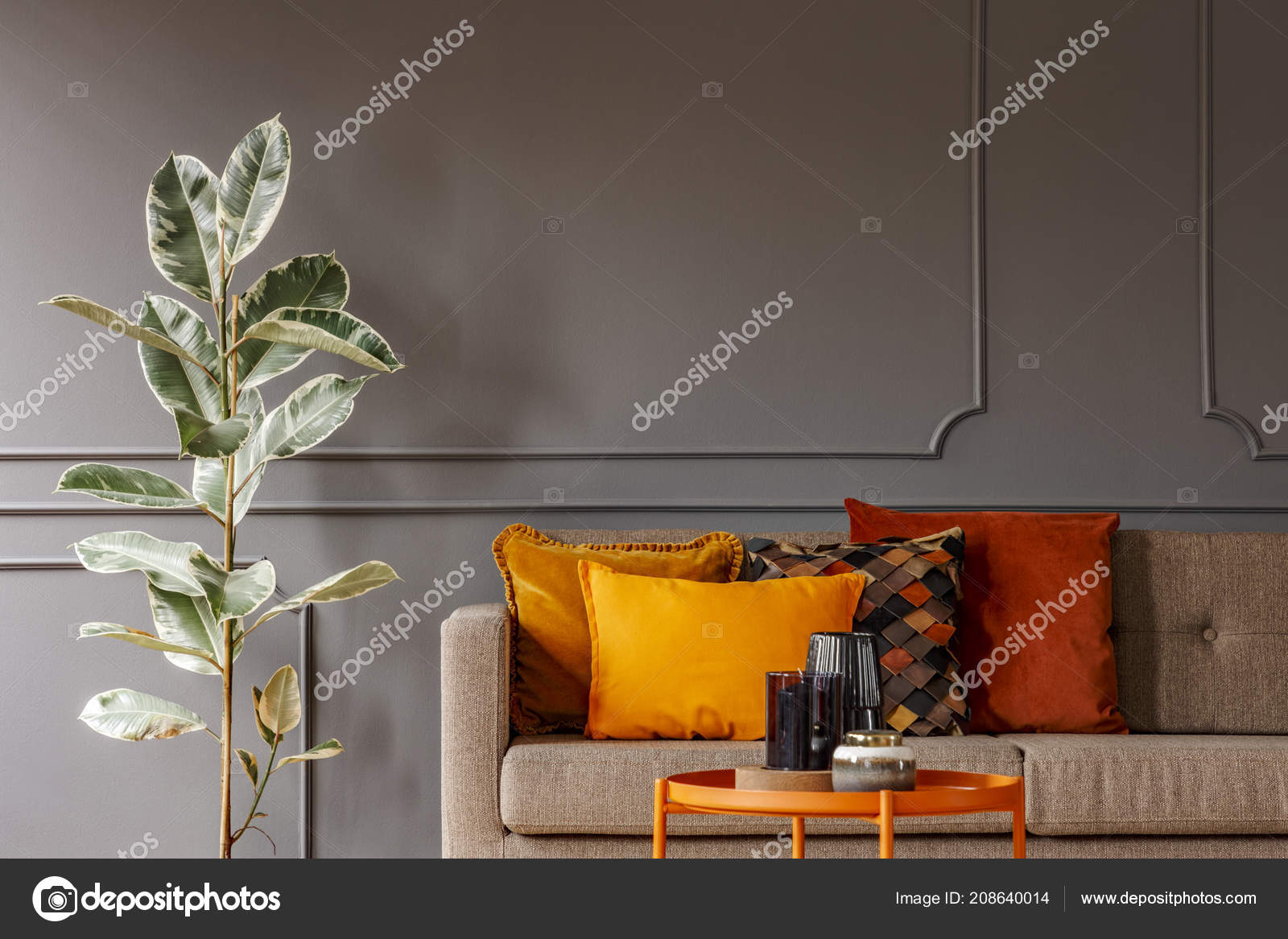 Orange and dark brown living room | Ficus Next Brown Sofa ...