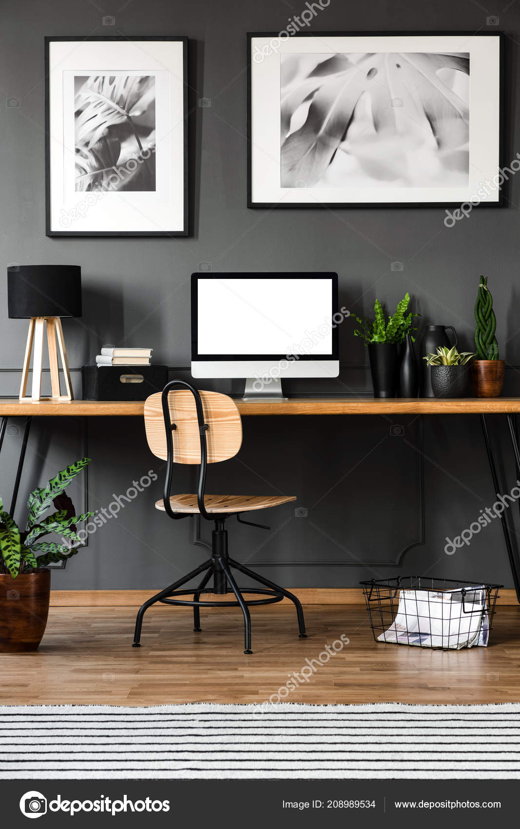 Mockup Empty Computer Monitor Wooden Home Office Interior Posters