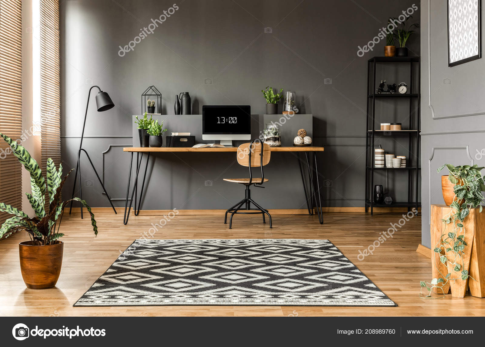 Patterned Carpet Plants Scandi Grey Home Office Interior Wooden Chair U2014  Stock Photo
