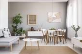 Echtes Foto von einem geräumigen Ess- und Wohnzimmer Einrichtung mit Holzmöbeln und Pflanzen auf einem Sockel
