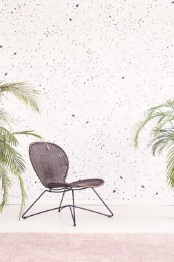 Black modern chair in bright flat interior with patterned wallpaper, plants and pink carpet. Real photo