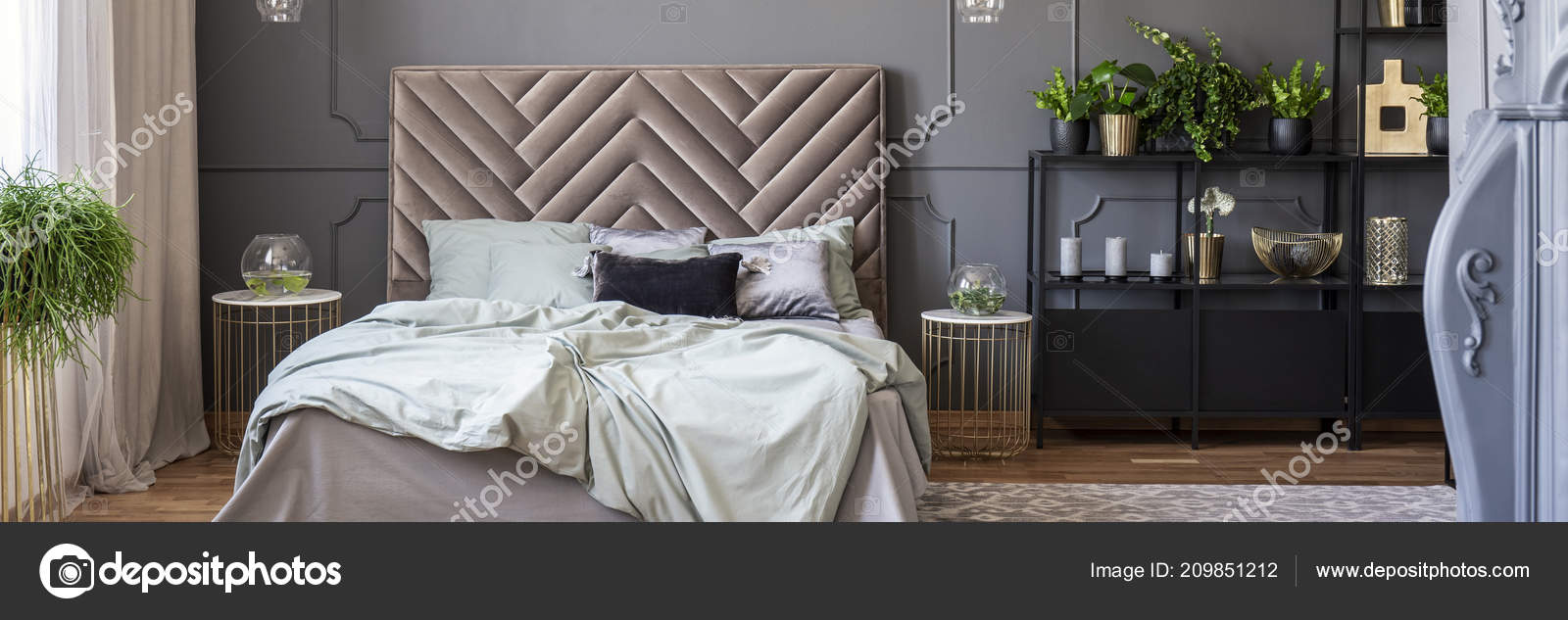 Sheets Bed Bedhead Grey Gold Bedroom Interior Plants Real Photo Stock Photo Image By C Photographee Eu 209851212