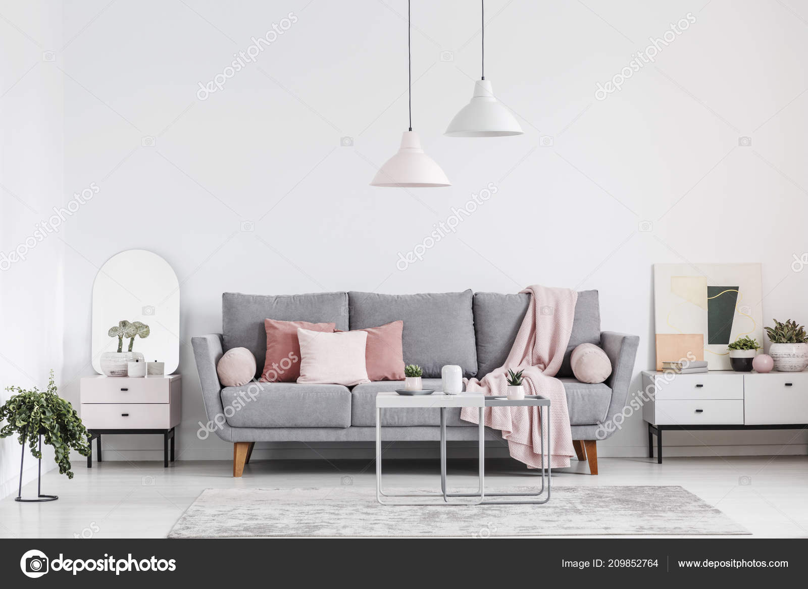 Photo Reelle Interieur Elegant Salon Avec Canape Gris