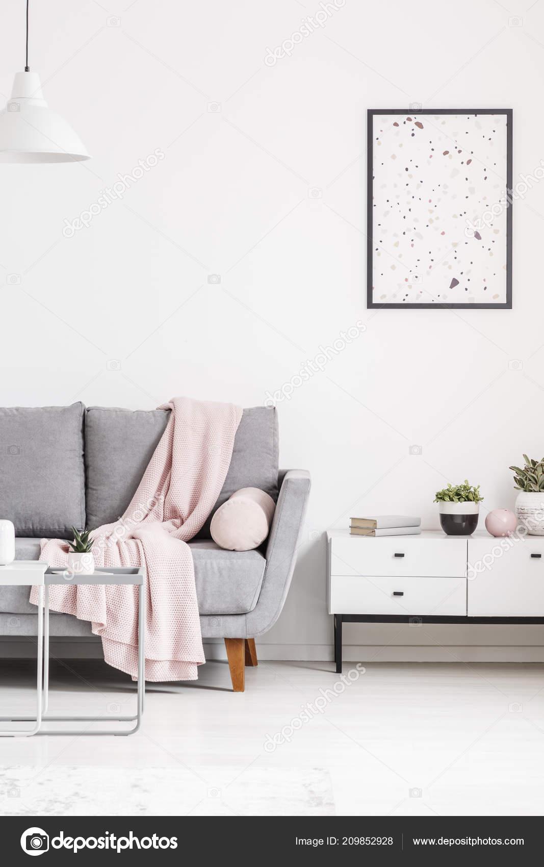Modern Poster White Wall Grey Sofa Blanket Cabinet Living