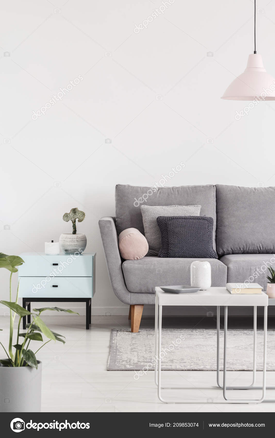 Cropped Photo Sofa Next Small Cabinet Coffee Table Living ...