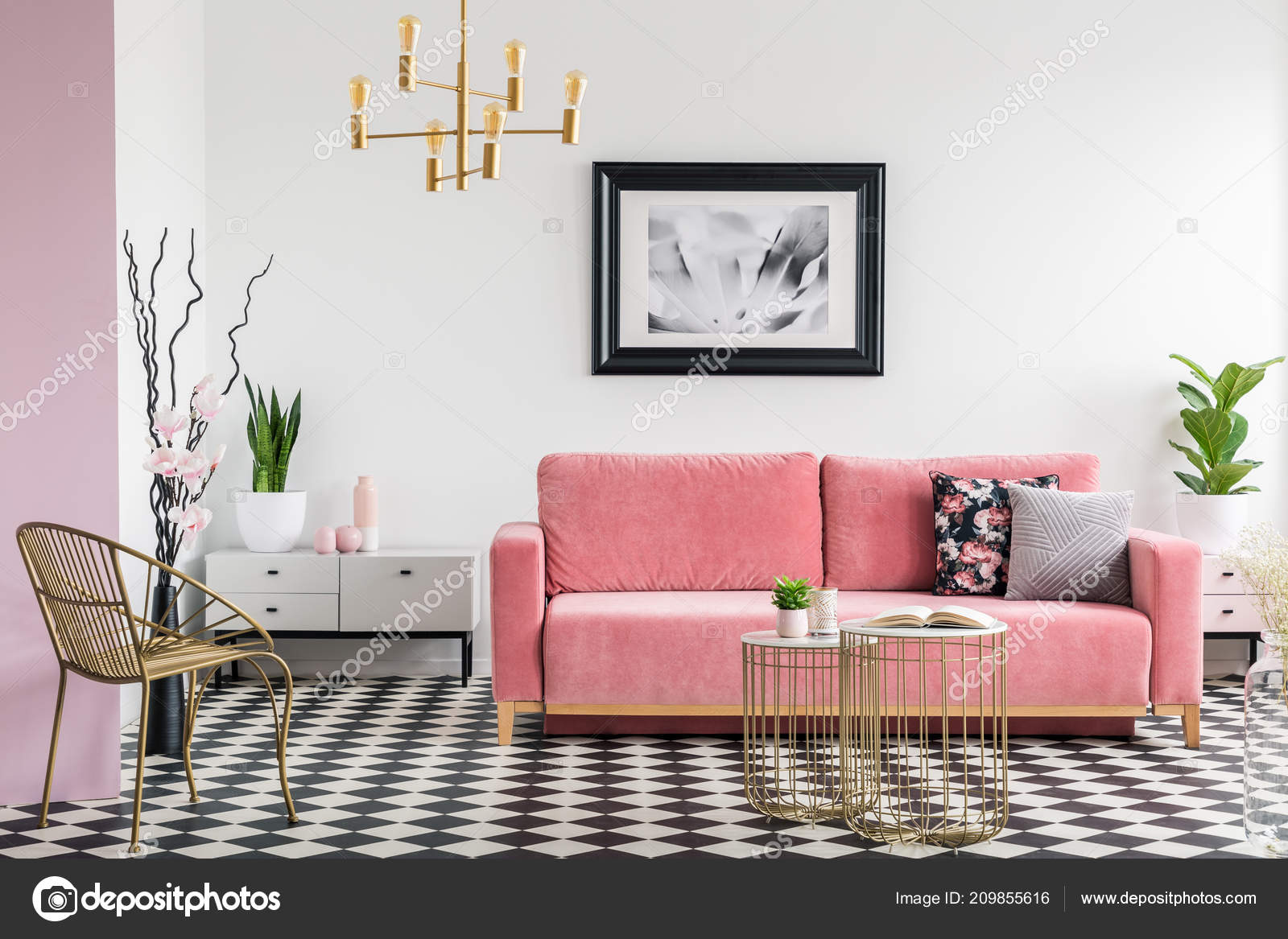 Astounding Gold Chair Pink Sofa Modern Living Room Interior Poster Interior Design Ideas Gentotthenellocom
