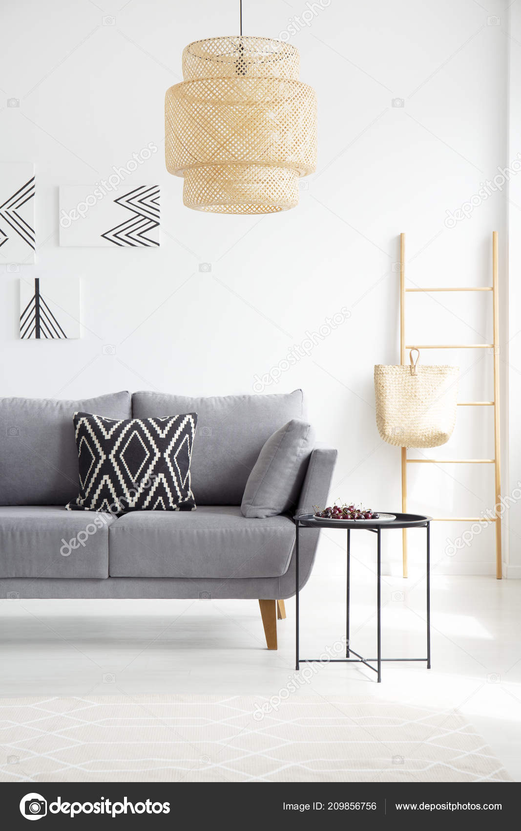 Surprising Real Photo Boho Black White Pillow Gray Couch Standing Next Machost Co Dining Chair Design Ideas Machostcouk
