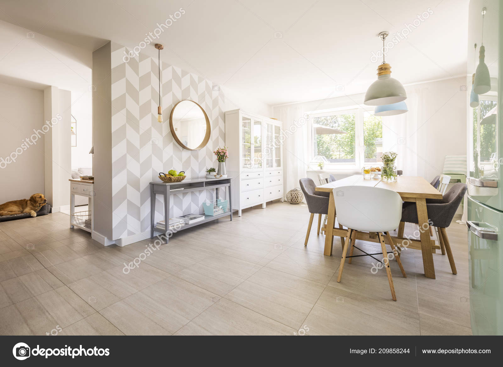 Chairs Dining Table Spacious Apartment Interior Mirror Wall Patterned Wallpaper Stock Photo Image By Photographee Eu 209858244